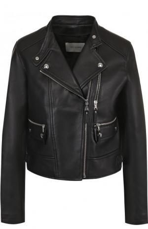 Укороченная кожаная куртка с косой молнией Yves Salomon. Цвет: черный