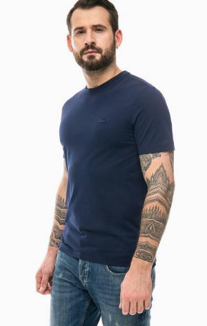 Синяя футболка из хлопка Lacoste. Цвет: синий