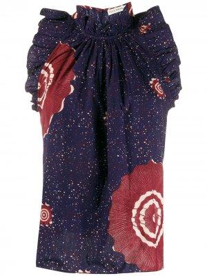 Расклешенная блузка с цветочным принтом Ulla Johnson. Цвет: синий