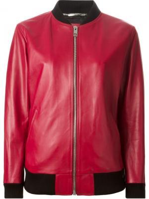 Кожаная куртка-бомбер Dolce & Gabbana. Цвет: красный