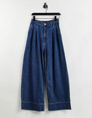 Широкие синие джинсы из материала с органическим хлопком Nani-Голубой Monki