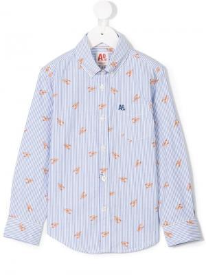 Рубашка в полоску с раками American Outfitters Kids. Цвет: синий