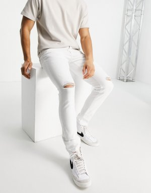 Белые джинсы скинни с рваной отделкой -Белый River Island