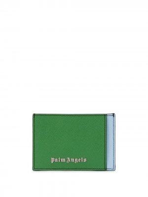 Картхолдер в стиле колор-блок с логотипом Palm Angels. Цвет: зеленый