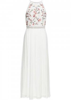 Платье макси с вышивкой bonprix. Цвет: белый