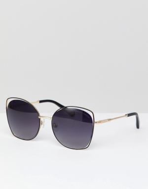 Солнцезащитные очки в золотистой квадратной оправе с серыми стеклами Christian Lacroix-Золотой La Croix