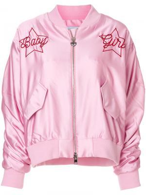 Куртка бомбер с вышивкой Chiara Ferragni. Цвет: розовый и фиолетовый
