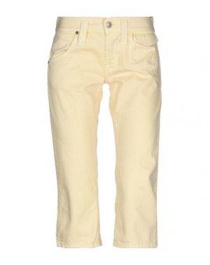 Джинсовые брюки-капри FORNARINA. Цвет: светло-желтый