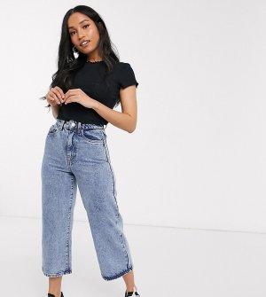 Широкие укороченные джинсы с эффектом кислотной стирки -Синий Vero Moda Petite
