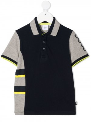 Рубашка поло в стиле колор-блок Boss Kids. Цвет: синий