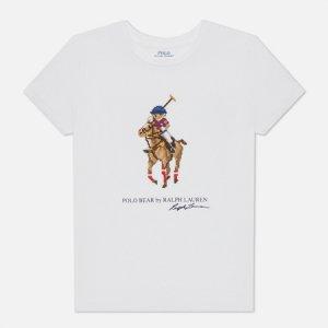 Женская футболка Graphic Pixel Polo Bear Ralph Lauren. Цвет: белый