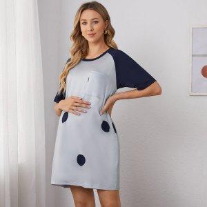 Ночная рубашка в горошек с рукавами реглан для беременных SHEIN. Цвет: серый