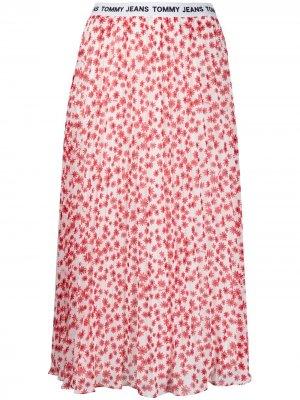 Плиссированная юбка миди с цветочным принтом Tommy Jeans. Цвет: белый