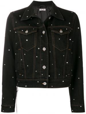 Джинсовая куртка с отделкой кристаллами Miu. Цвет: черный