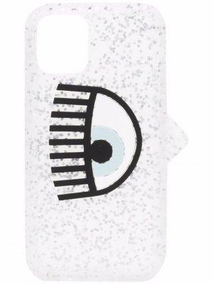 Чехол для iPhone 12 с блестками и логотипом Chiara Ferragni. Цвет: серебристый