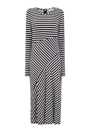 Платье асимметричного кроя из струящейся вискозы в полоску MICHAEL Kors. Цвет: черно-белый