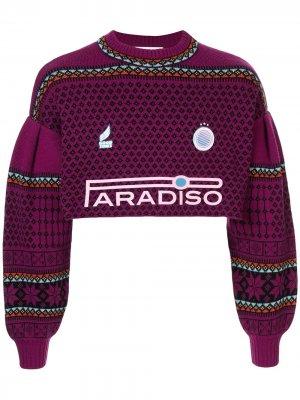 Укороченный свитер с принтом Ground Zero. Цвет: фиолетовый