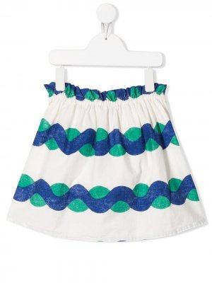 Расклешенная юбка с принтом Bobo Choses. Цвет: белый