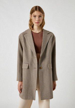 Пальто Pull&Bear. Цвет: коричневый
