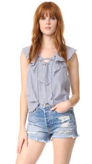 Блуза Azur в полоску с оборками Ella Moss. Цвет: темно-синяя полоска