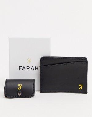 Подарочный набор с кредитницей и футляром для наушников -Черный Farah