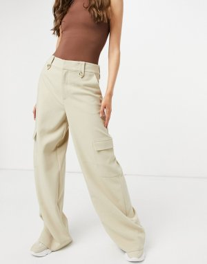 Бежевые брюки в утилитарном стиле с завышенной талией Reem-Бежевый Gestuz