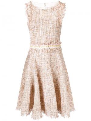 Твидовое платье с оборками Talbot Runhof. Цвет: нейтральные цвета