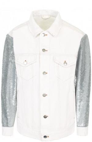 Джинсовая куртка свободного кроя с пайетками Iro. Цвет: белый