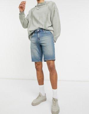 Темно-выбеленные зауженные джинсовые шорты синего окрашенного оттенка -Голубой ASOS DESIGN