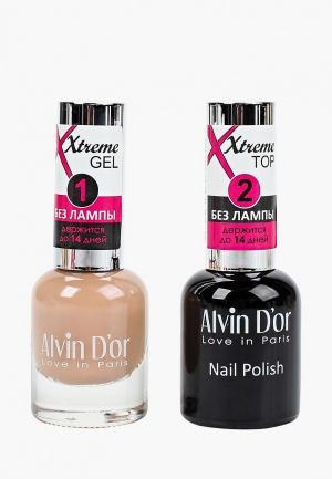 Набор гель-лаков Alvin Dor D'or Гель Xtreme extreme (Лак+Top) 2х15мл.5219 тон MIX 19. Цвет: прозрачный