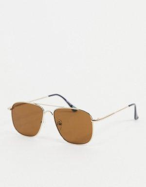 Золотистые солнцезащитные очки-авиаторы -Золотистый River Island