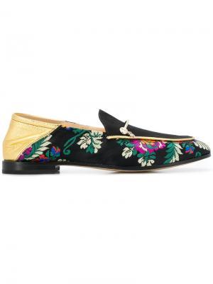 Floral embroidered loafers Fabi. Цвет: черный