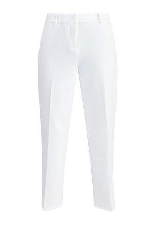 Прямые брюки длины ⅞ из плотной костюмной ткани MICHAEL Kors. Цвет: белый