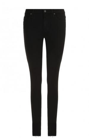 Однотонные джинсы-скинни с потертостями Ag. Цвет: чёрный