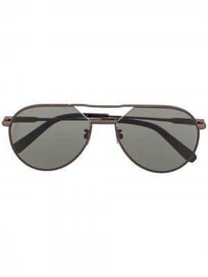 Солнцезащитные очки-авиаторы Brioni. Цвет: серый