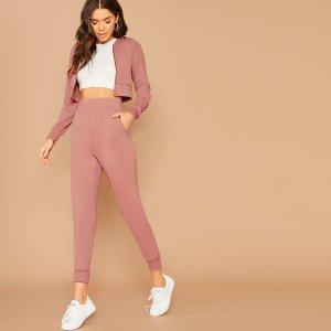 Куртка-бомбер с рукавами реглан и брюки для бега SHEIN. Цвет: розовые пастельный