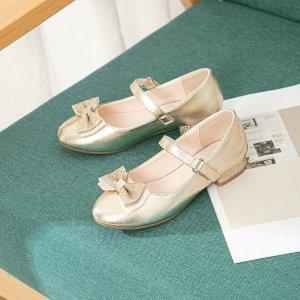 Для девочек Туфли мэри джейн металлический с бантом SHEIN. Цвет: золотистый