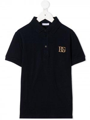 Рубашка поло с вышитым логотипом Dolce & Gabbana Kids. Цвет: синий