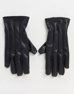 Черные перчатки из искусственной кожи -Черный Jack & Jones