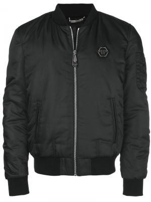 Куртка-бомбер с принтом черепа сзади Philipp Plein. Цвет: черный