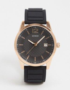 Часы с золотистым циферблатом и черным ремешком -Черный Guess