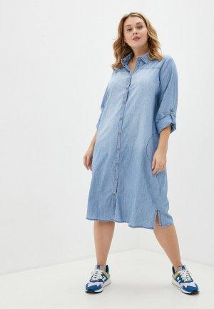 Платье джинсовое Ulla Popken. Цвет: голубой