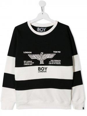 Двухцветная толстовка Boy London Kids. Цвет: черный