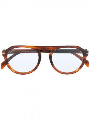 Солнцезащитные очки в круглой оправе Eyewear by David Beckham. Цвет: синий