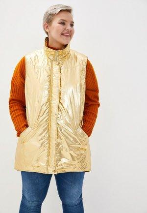 Жилет утепленный Авантюра Plus Size Fashion. Цвет: золотой