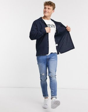 Темно-синяя льняная рубашка с длинными рукавами -Темно-синий Abercrombie & Fitch