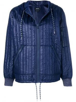 Стеганая куртка-бомбер на молнии A.P.C.. Цвет: синий