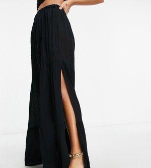 Ярусная пляжная юбка макси из жатой ткани черного цвета от комплекта ASOS DESIGN Petite-Черный цвет Petite