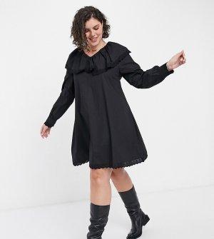 Свободное платье мини из поплина с длинными рукавами, воротником и отделкой кружевом -Черный Daisy Street Plus