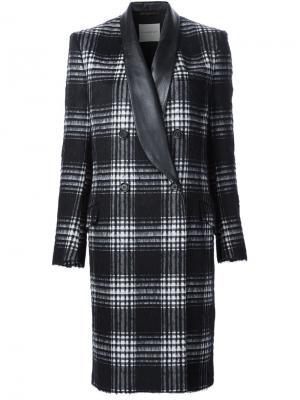 Двубортное пальто в клетку Emanuel Ungaro. Цвет: чёрный